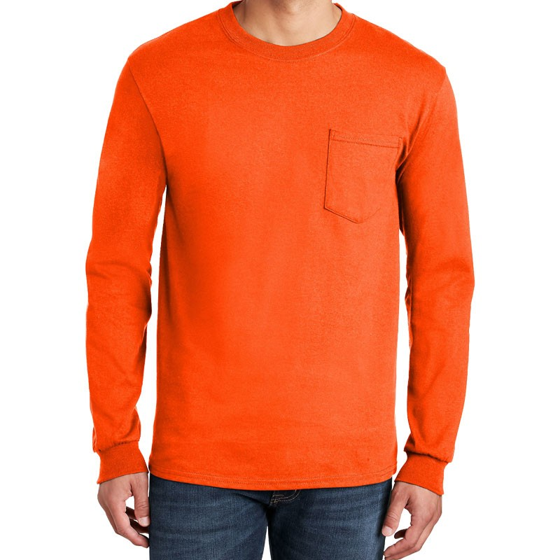 3XL COTTON L/S T-SHIRT W/POCKET - ORANGE
