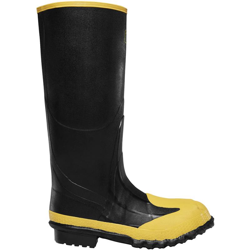 """Lacrosse 16"""" Size 14 Black Steel Toe Rubber Boot"""