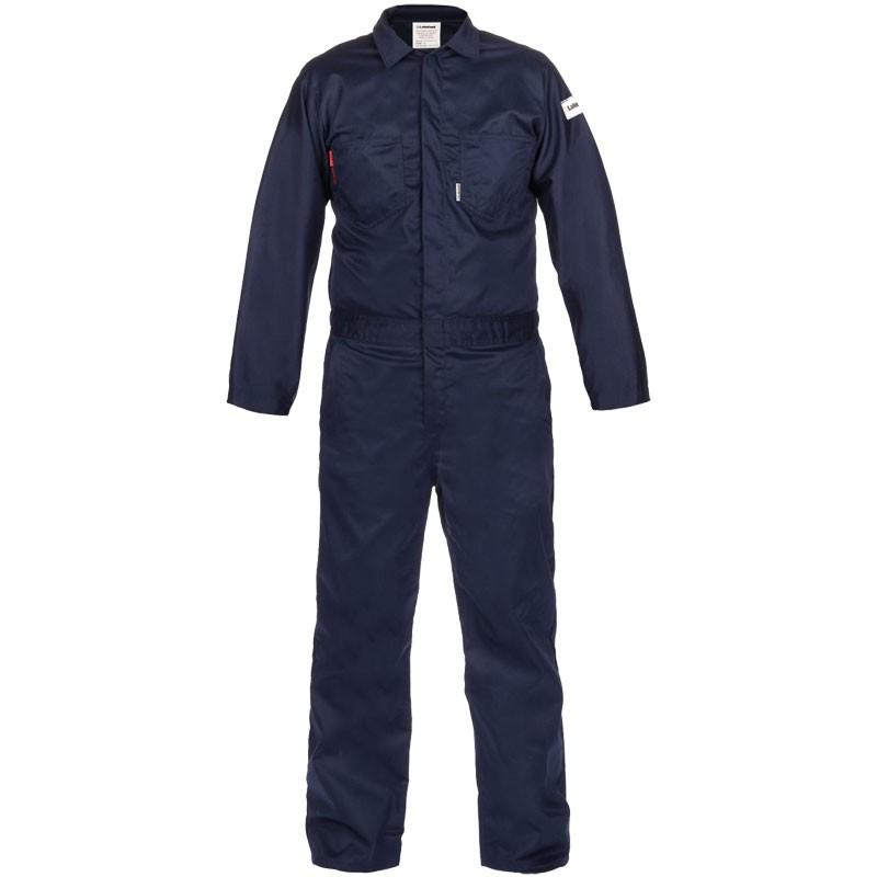 7 oz. Navy 100% FR Cotton Coverall - Lightweight, Dual-Certified, Medium