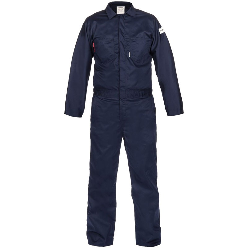 7 oz. Navy 100% FR Cotton Coverall - Lightweight, Dual-Certified, X-Large