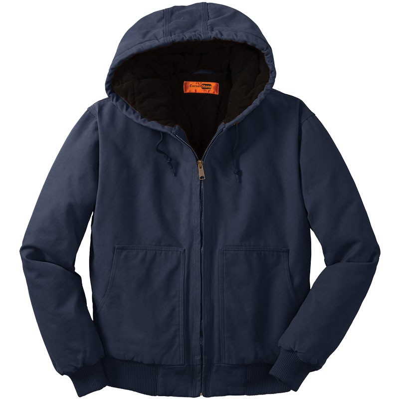 Washed Duck Cloth Insulated Hooded Work Jacket, Navy - S