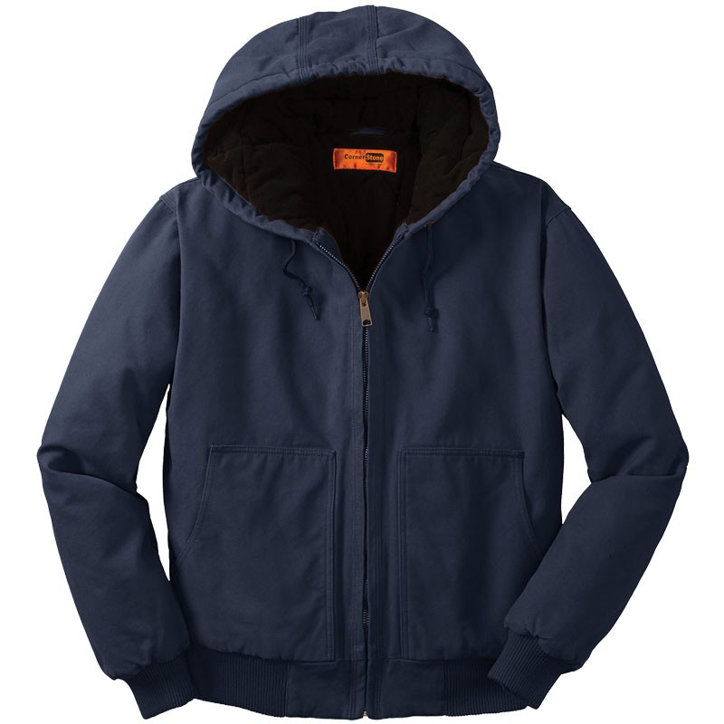 Washed Duck Cloth Insulated Hooded Work Jacket, Navy - M