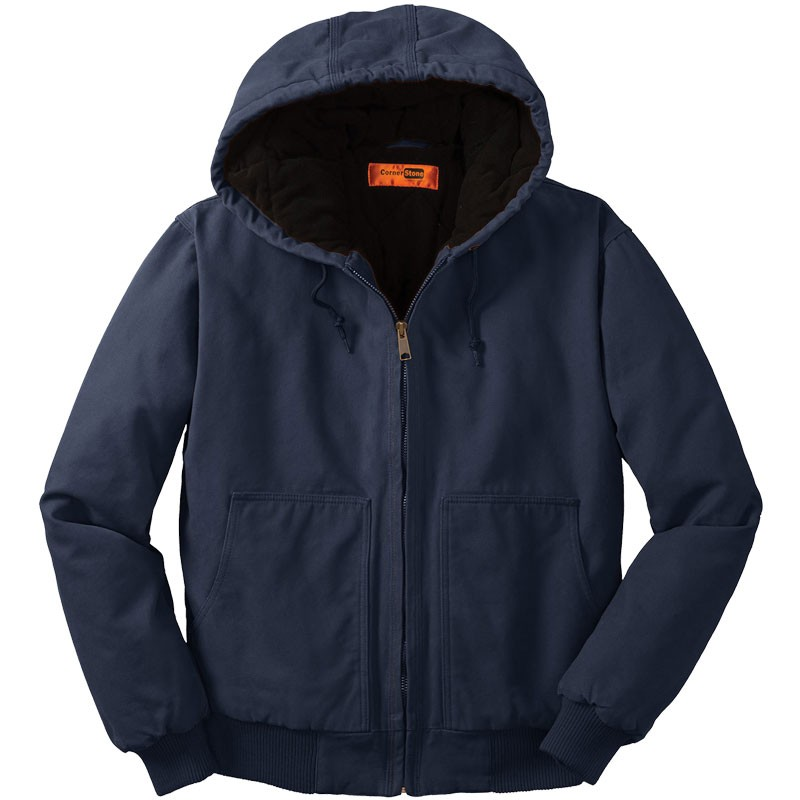 Washed Duck Cloth Insulated Hooded Work Jacket, Navy - 2XL