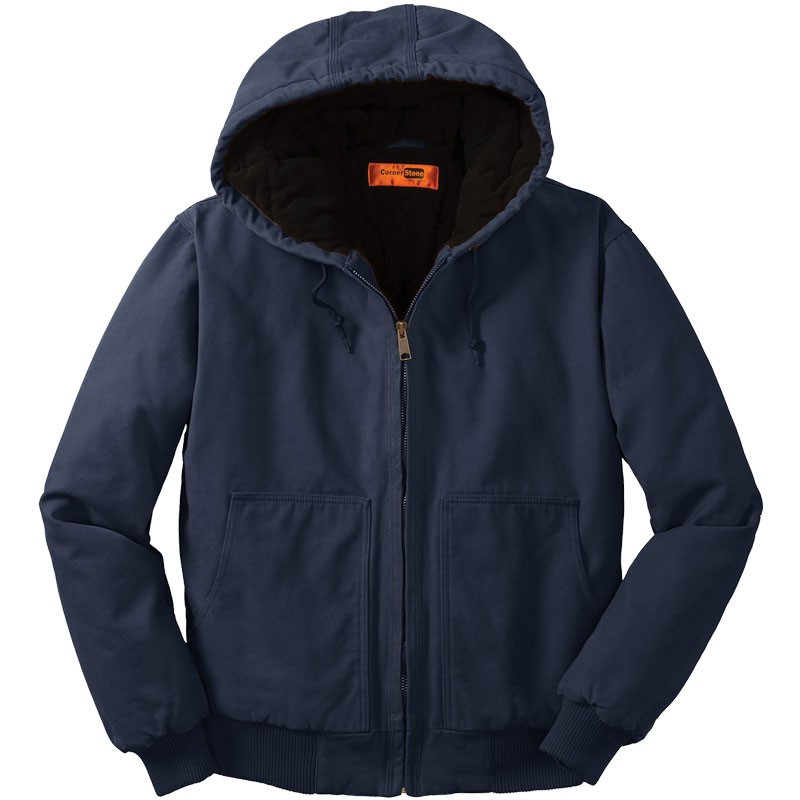 Washed Duck Cloth Insulated Hooded Work Jacket, Navy - 6XL