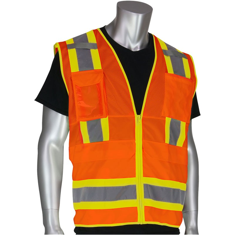 Premium Class 2 Orange 10 Pocket Surveyors Vest w/Ipad Pocket, Small
