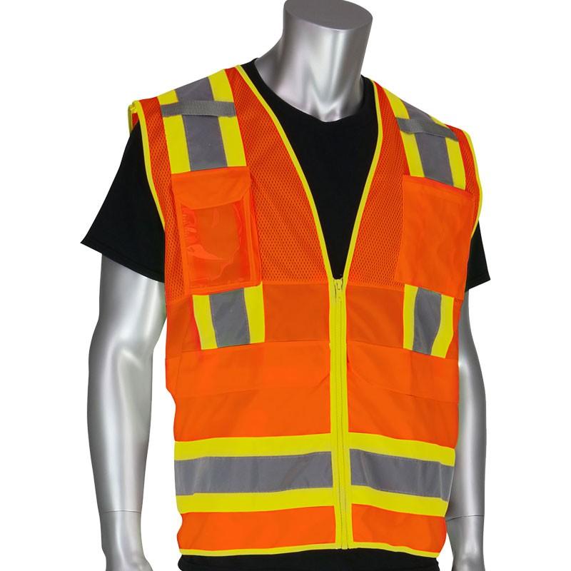 Premium Class 2 Orange 10 Pocket Surveyors Vest w/Ipad Pocket, Medium