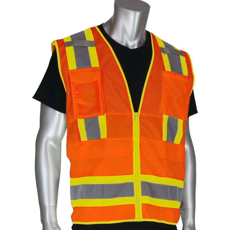 Premium Class 2 Orange 10 Pocket Surveyors Vest w/Ipad Pocket, 2X-Large
