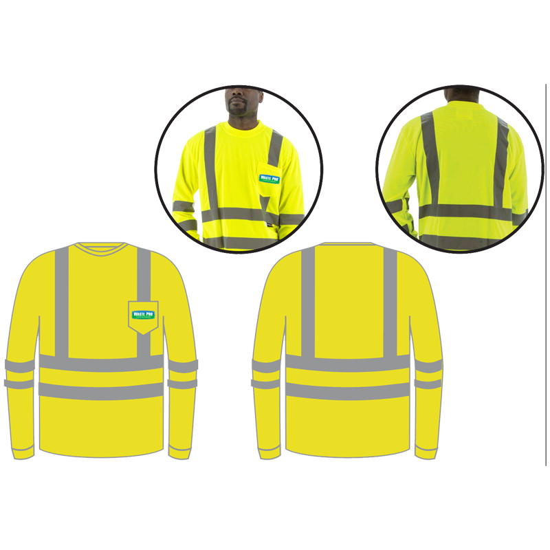 SM CLASS 3 HI-VIS YELLOW LONG SLEEVE W/ 3M REFLECTIVE STRIPING  W/ WASTE PRO LOGO (3C-1L)