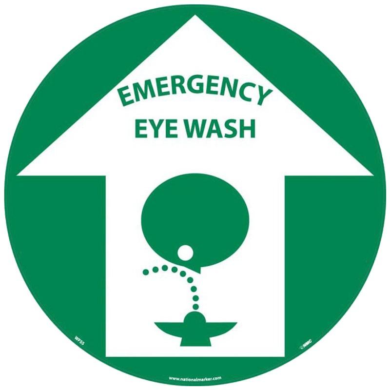 "17"" Adhesive Vinyl Floor Safety Sign - Emergency Eye Wash"