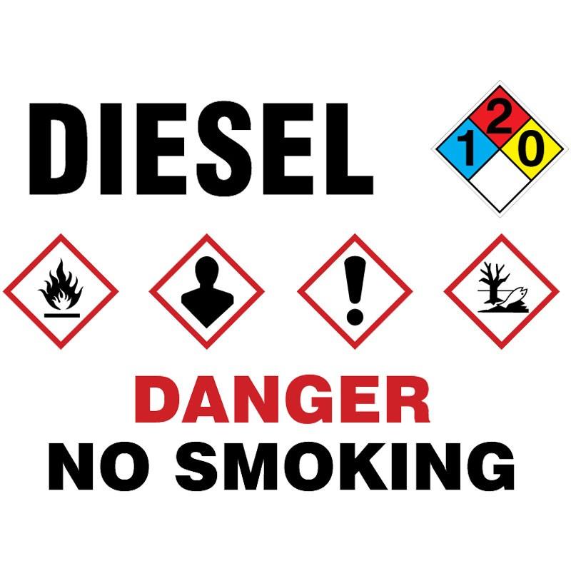 "10"" x 14"" NFPA Diamond Label, Diesel, Adhesive Vinyl"