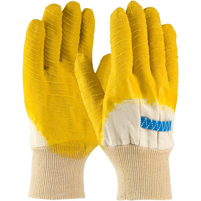 White Jersey Glove, Knit Wrist, 3/4 Coverage Latex Crinkle Coat, Universal Size