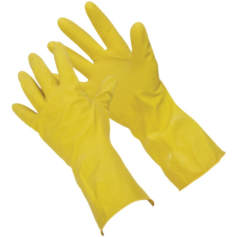"12"" 15 Mil. Yellow Latex Glove, Embossed Grip, Flock Lined, Large"