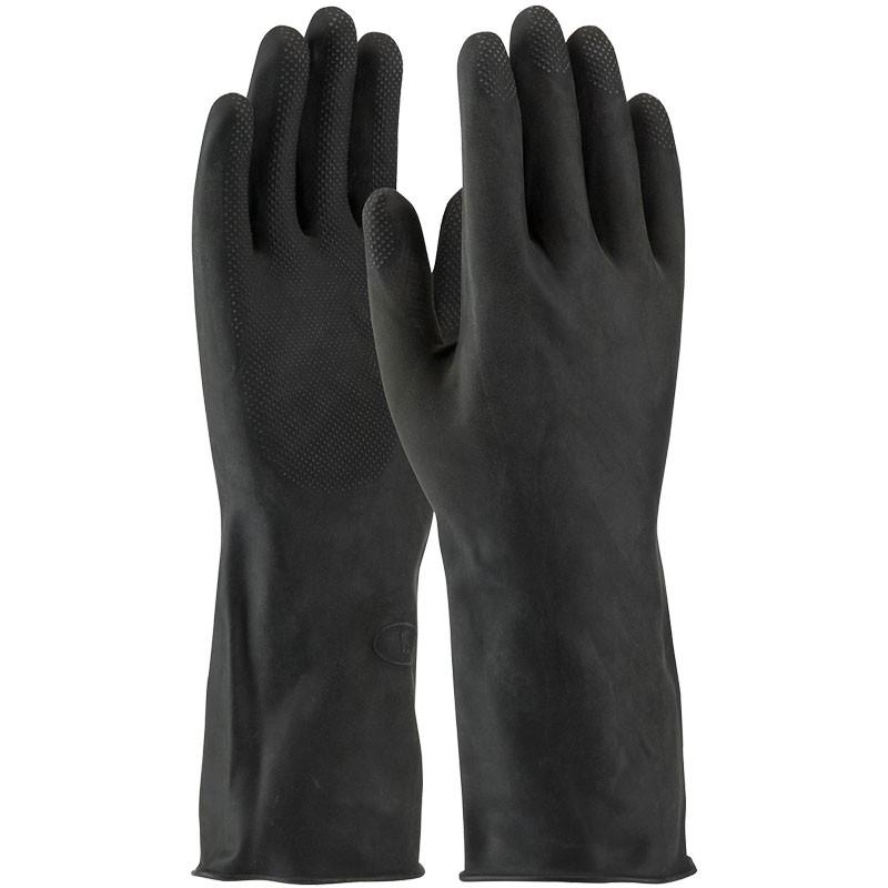 "13"" 28 MIl Black Latex Glove, Embossed Grip, Flock Lined, X-Large"