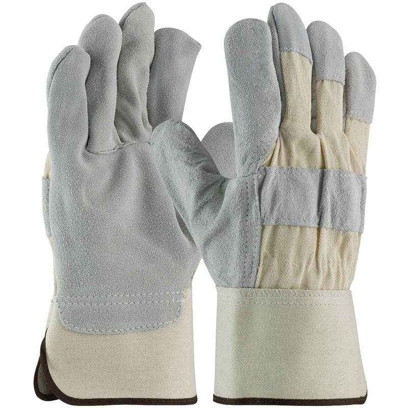 7583-L Large Leather Palm Work Gloves Silver Series with Rubberized Safety Cuff