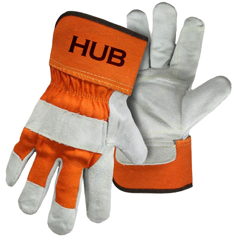 HUB Inner-Double Palm Leather Work Glove, Orange Back, Kevlar® Stitching, Large