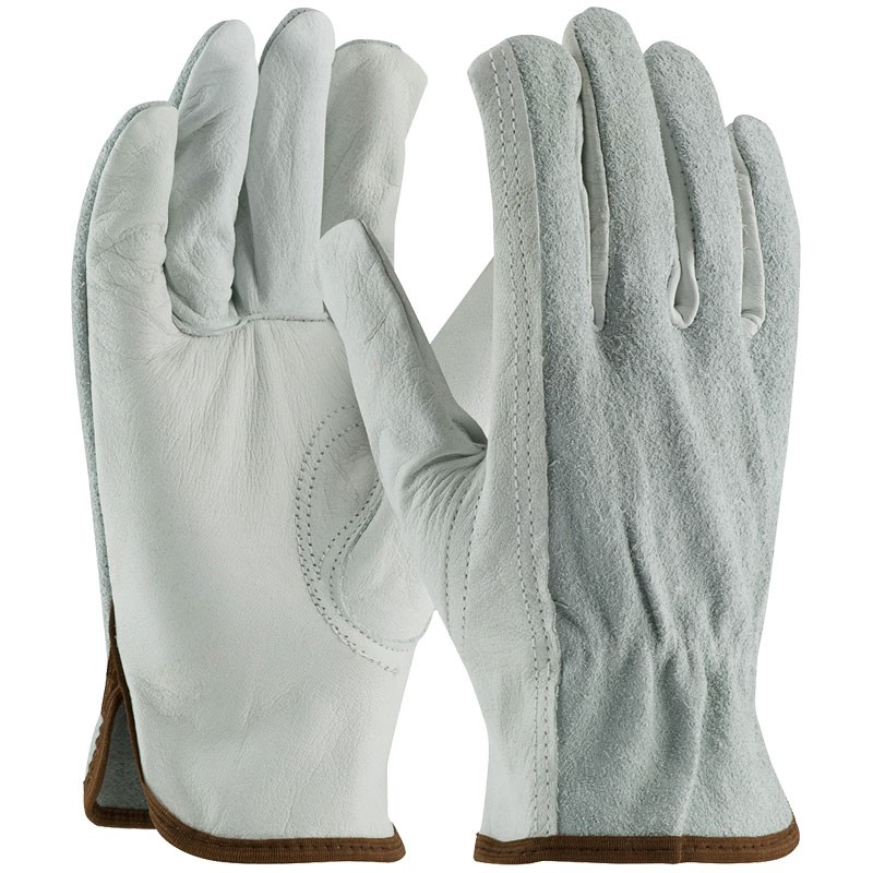 Good Cowhide Drivers Glove, Top-Grain Palm / Split Back, Large