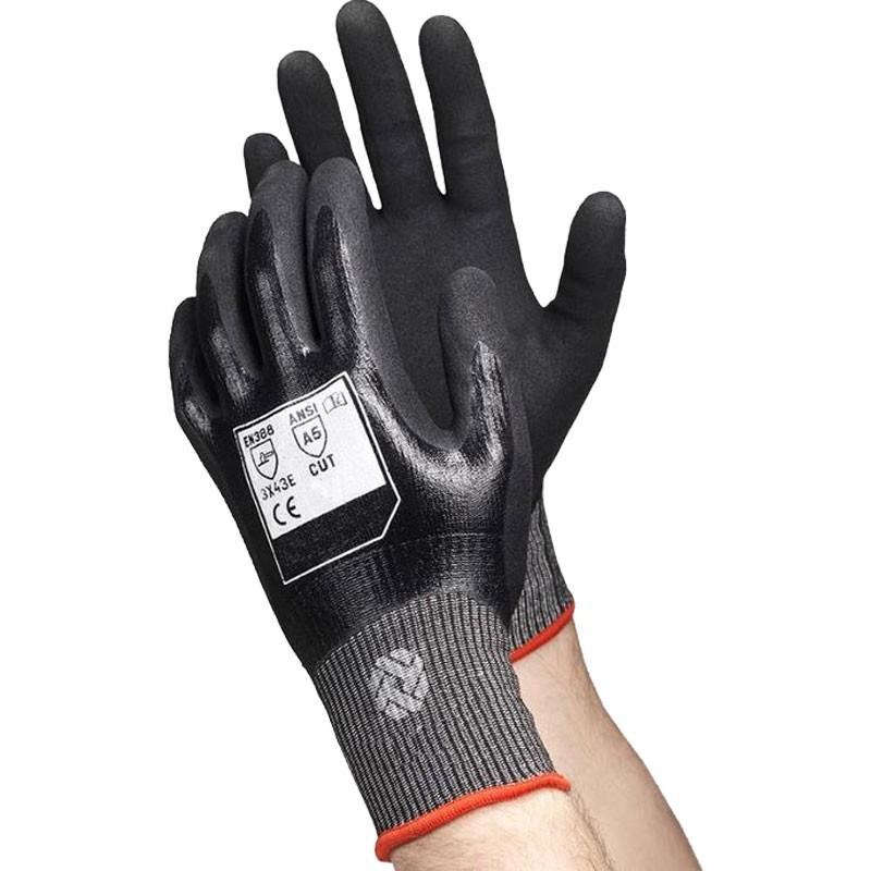 RhinoYarn® Cut-Resistant Glove, Full Nitrile Dip, Nitrile Microsurface Grip, Large