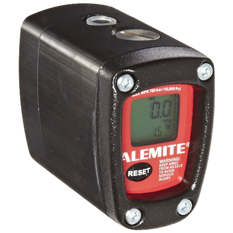 """Alemite 3530 Grease Meter, 10,000 psi Max Operating Pressure, 3.2 oz./min - 88 oz./max Flow, 1/8"""" NPTF Inlet and Outlet"""