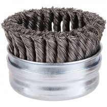 "4"" x 5/8-11"" Knot Wire Cup Brush .020 Wire - Stainless Steel"