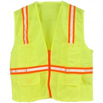 Non-Rated Premium Lime Green Safety Vests - X-Large