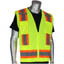Class 2 Two-Tone Stripe Surveyors Safety Vest, Solid Front, Mesh Back, Zipper Closure, Hi-Vis Yellow, 2-XL