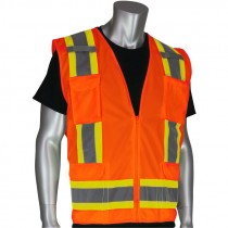 Class 2 Two-Tone Stripe Surveyors Safety Vest, Solid Front, Mesh Back, Zipper Closure, Hi-Vis Orange, 2-XL