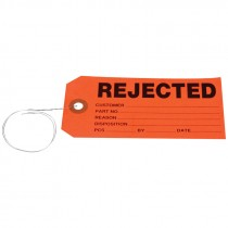 "#5 (4-3/4"" x 2-3/8"") Per-Wired REJECTED Card Stock Tag - Red"