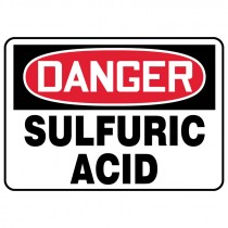 "7"" x 10"" Danger Sulfuric Acid Sign"