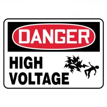 "7"" x 10"" Danger High Volatge Sign with Electrical Shock Symbol"