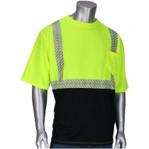 Class 2 Black Bottom T-Shirt w/ Segmented Tape - Hi-Vis Yellow, 2-XL