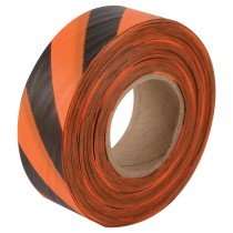 "1-3/16"" x 100yds Orange/Black Stripped Flagging Tape"