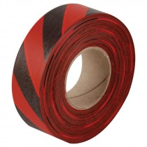 "1-3/16"" x 100yds Red/Black Striped Flagging Tape"