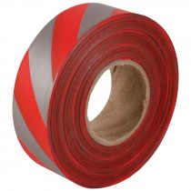 "1-3/16"" x 100yds Red/Silver Stripped Flagging Tape"