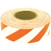 1 3/16 X 300 FT WHITE/ORANGE STRIPE  FLAGGING TAPE