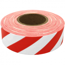 1 3/16 X 100Y WHITE/RED STRIPE FLAGGING  TAPE