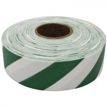 "1-3/16"" x 300' Flagging Tape, White/Green Stripe"