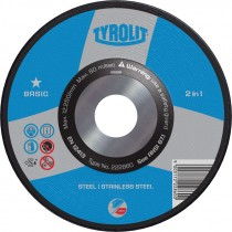 "9"" x 1/4"" x 7/8"" A30QBFX Type 27 Basic 2-in-1 Grinding Wheel (Discontinued)"