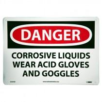 """10"""" x 14"""" Danger Corrosive Liquids Sign - Aluminum"""