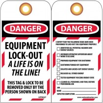 "6"" x 3"" Equipment Lockout Tags -A Life Is On The Line- 10 Pack"
