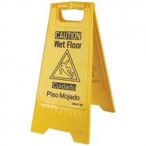 "24-5/8"" x 10-3/4"" Bilingual Caution Wet Floor Sign"