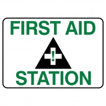 """7"""" x 10"""" First Aid Station Sign, Plastic"""