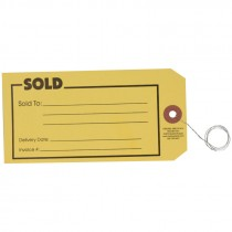 "#7 (5-3/4"" x 2-7/8"") Pre-Wired SOLD Card Stock Tag - Yellow"