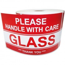 GLASS PLEASE HANDLE WITH CARE 3 IN. X  5 IN. RED ON WHITE LABELS 500 / ROLL