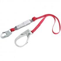 3M™ Protecta® Single Leg Shock Absorbing Lanyard with Locking Snap Hook and Flat Steel Rebar Hook, 6'