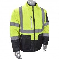 Class 3 Black Bottom Quilted Jacket, Reversible with Zip Off Sleeves, Hi-Vis Yellow, 4-XL