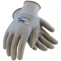 Gray Polyester Seamless Glove, PU Coated Palm, Touchscreen Compatible, Medium