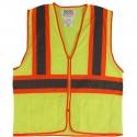 Class 2 Two-Tone Stripe Safety Vest, Mesh, Zipper Closure