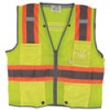 Class 2 Two-Tone Stripe Surveyors Safety Vest w/ D-Ring Pass Thru, Mesh, Zipper Closure