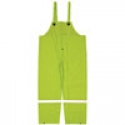 Hi-Vis Green Poly Overall Style Rain Pants w/ Reflective Striping