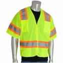 Class 3 5-Point Break-Away, Two-Tone Stripe Safety Vest, Mesh, Hook & Loop Closure